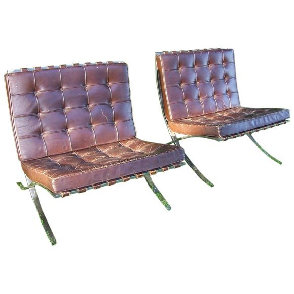 a pair of mies van der rohe barcelona chairs original label at 1stdibs. Black Bedroom Furniture Sets. Home Design Ideas