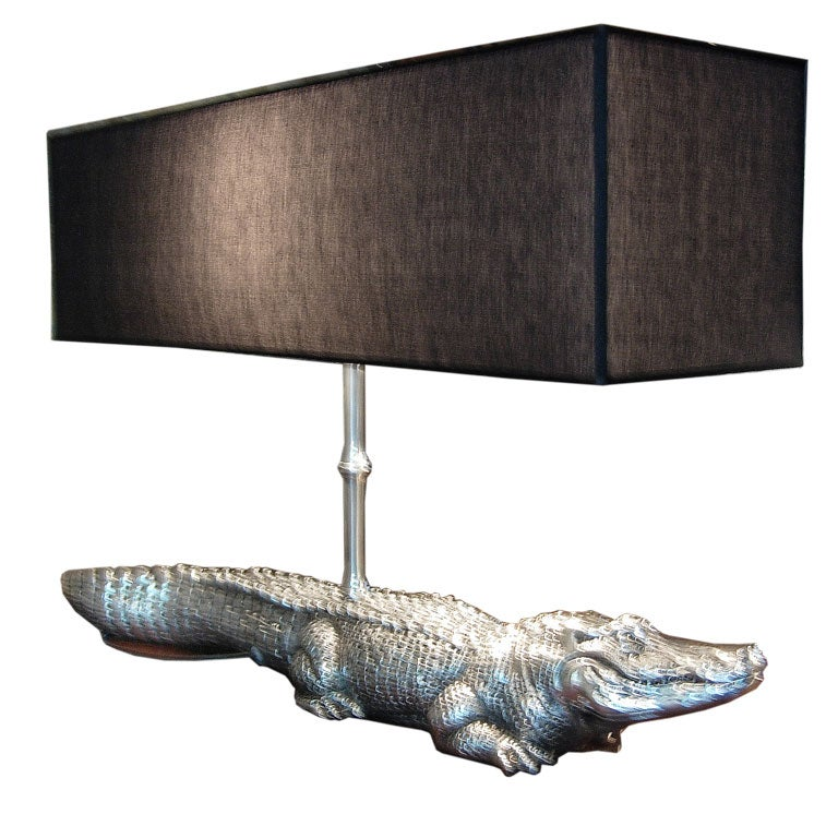 Italian Nickel Crocodile Lamp At 1stdibs