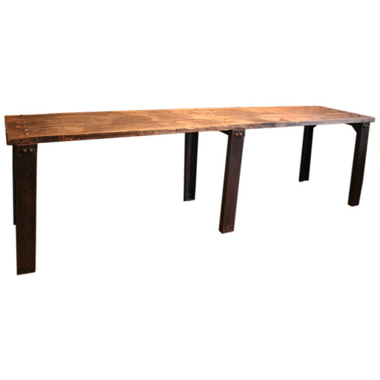 Bois metal console at 1stdibs for Table bois metal rallonge