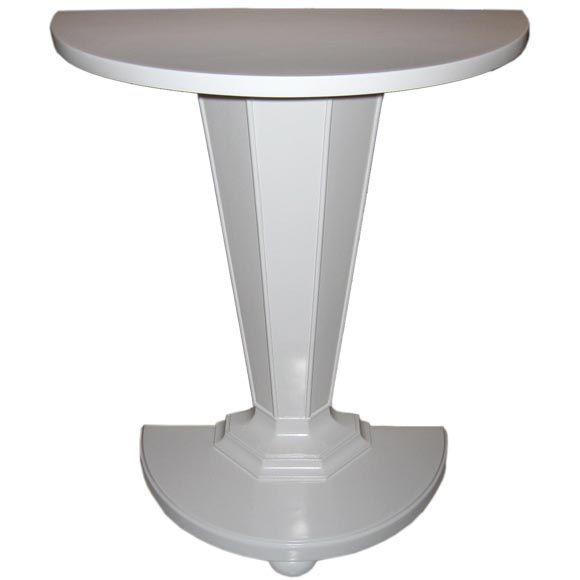 White lacquered demi lune console table at 1stdibs White demilune console table