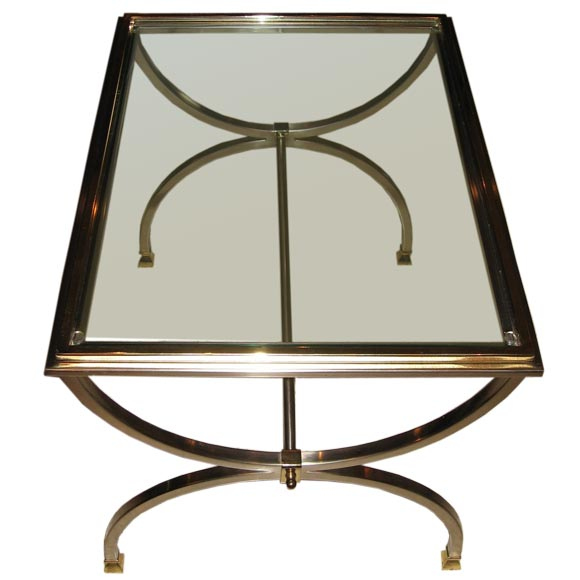 Brushed Nickel And Brass Coffee Table At 1stdibs
