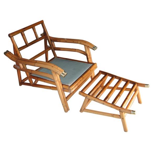 Mid Century Modern Cuban Rattan Lounge Chair and Ottoman