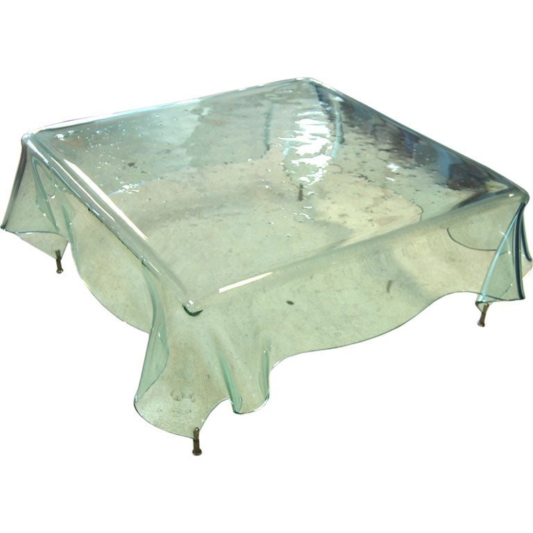 Bottle green glass tablecloth coffee table at 1stdibs Coffee table tablecloth