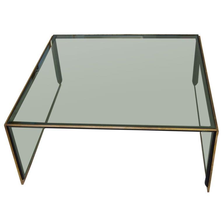 Elegant Smokey Glass Coffee Table At 1stdibs