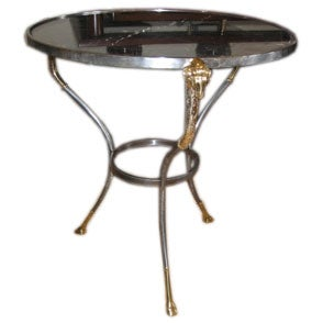 Round Classical Circular End Table with Marble Top in Jansen Style