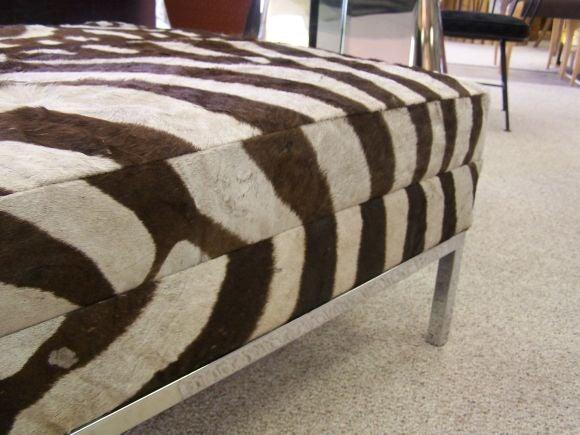 Zebra Hide On Chrome Ottoman Coffee Table At 1stdibs