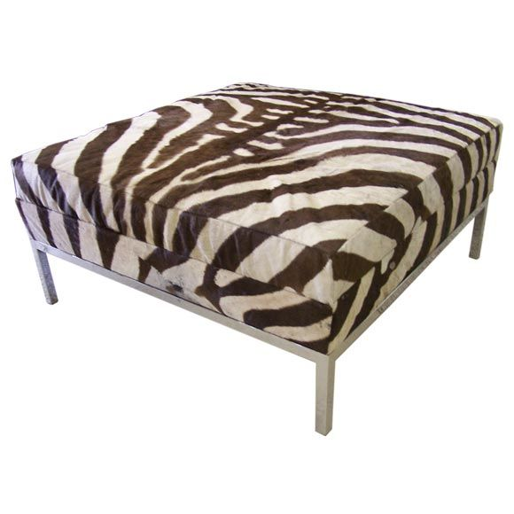 Zebra Hide On Chrome Ottoman Coffee Table At 1stdibs