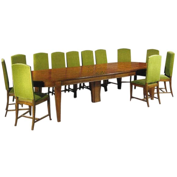 Grand Art Deco Dining Table And Twelve Chairs Ca 1935 At 1stdibs