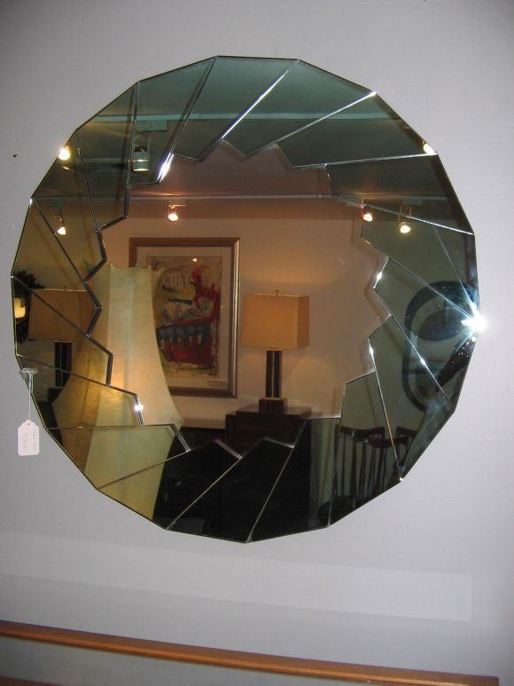 A Fabulous Two Color Large Round Wall Mirror at 1stdibs