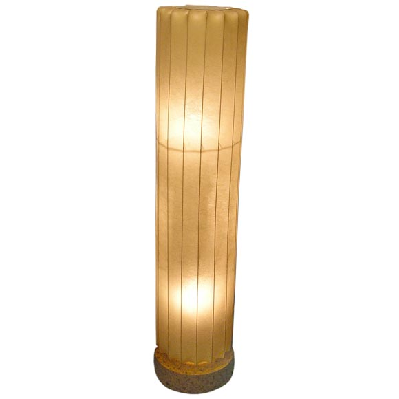 Ribbed Brass Floor Lamp: A Cellulose Ribbed Column Lamp On A Cork Base At 1stdibs