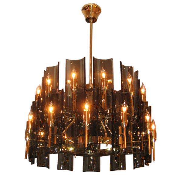 max ingrand for fontana arte large two tiered chandelier. Black Bedroom Furniture Sets. Home Design Ideas