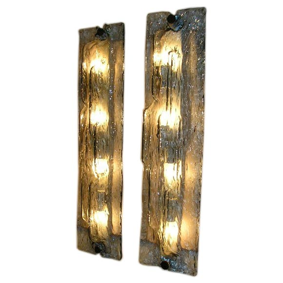 Wall Sconces With Clear Glass : A Pair of Long Blue and Clear Glass Wall Sconces by Venini at 1stdibs