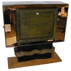 Vittorio Valabrega Rare Bar Cabinet in Mirror Oak and Ebonised Wood, circa 1940s