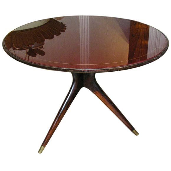 Italian occasional table with red glass top by riminy ca for Glass top occasional tables