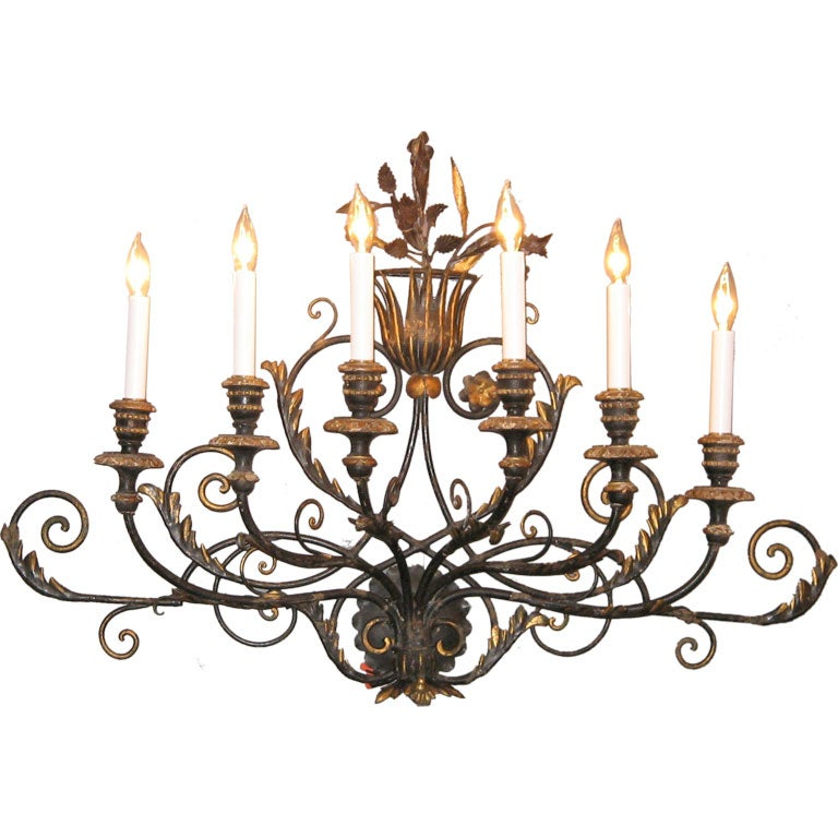 A Large Wrought Iron Art Deco Wall Sconce at 1stdibs