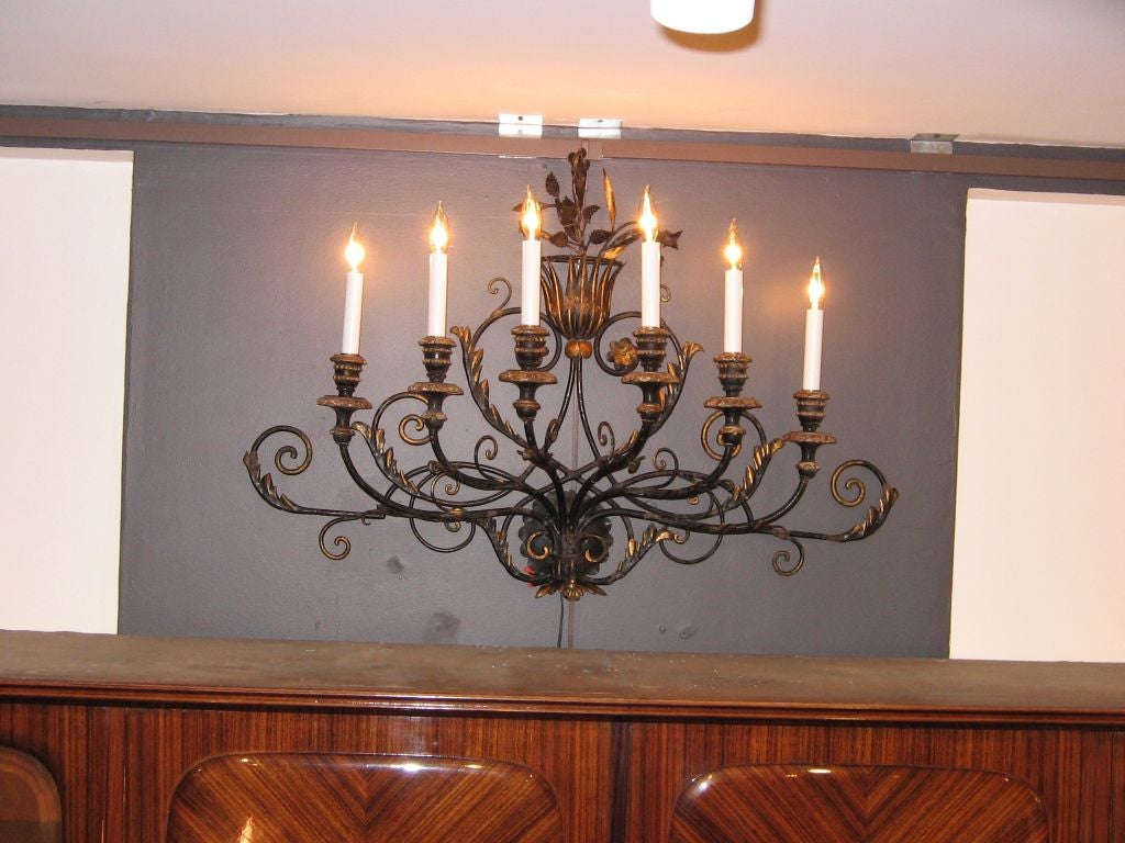 Large Wall Sconces Wrought Iron : A Large Wrought Iron Art Deco Wall Sconce at 1stdibs