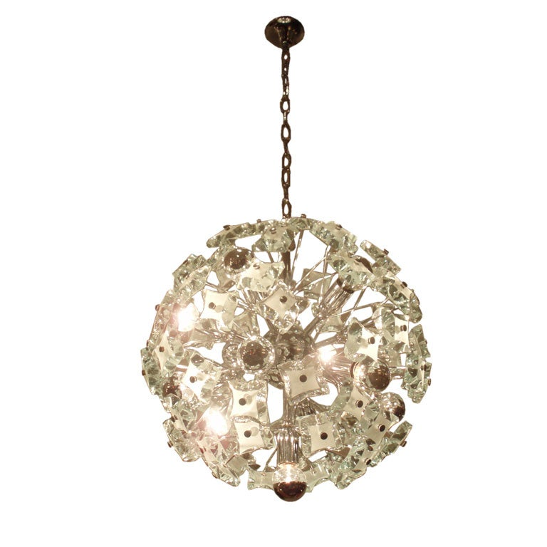 a crystal ball chandelier by fontana arte at 1stdibs. Black Bedroom Furniture Sets. Home Design Ideas