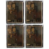 Set of Four Black Framed Mirrors