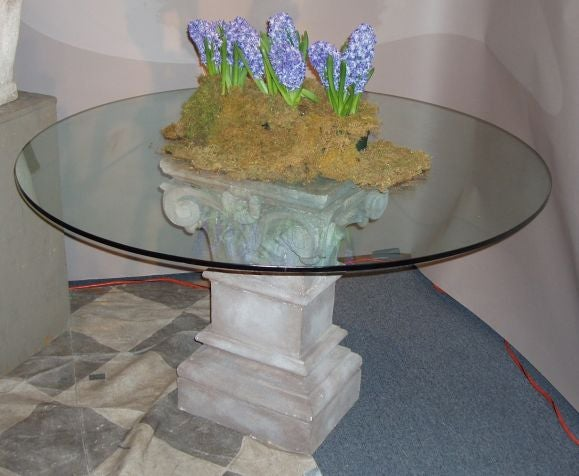 Stone pedestal table base at 1stdibs for Cuir center table basse