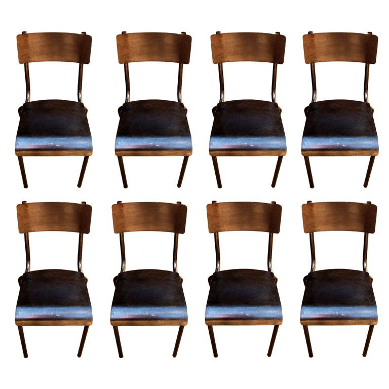 set of 8 industrial dining chairs at 1stdibs