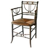 19th Century Lyre Back Arm Chair