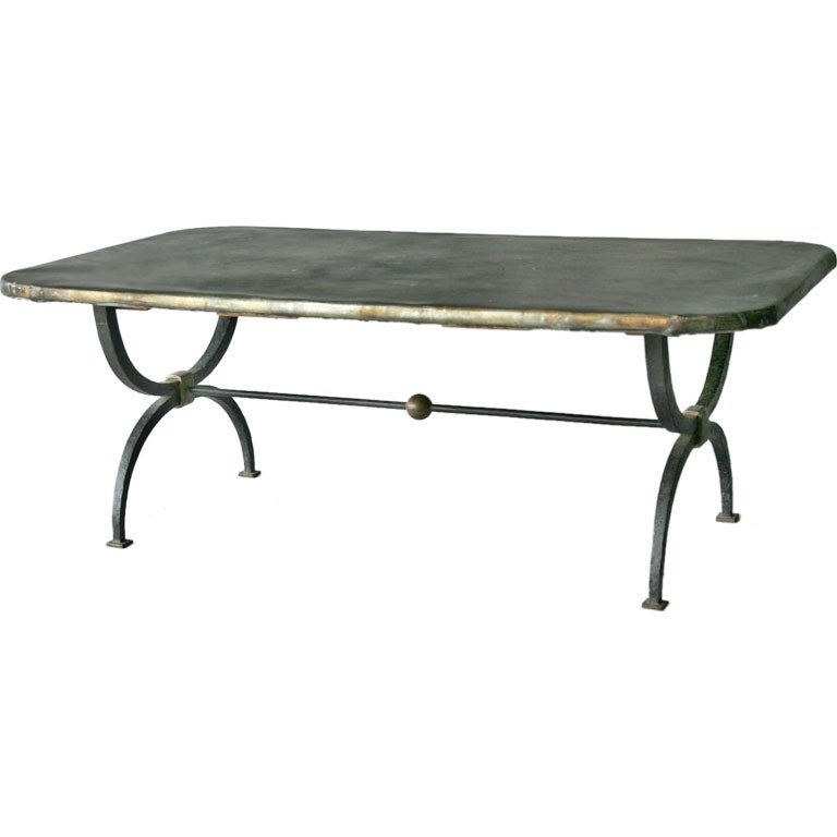 Iron Coffee Table Base With Zinc Top At 1stdibs