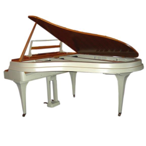 Rippen Mid Century Aluminum Baby Grand Piano For Sale