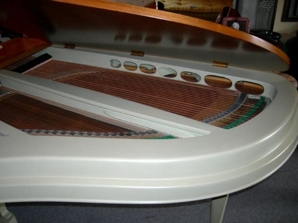 Dutch Rippen Mid Century Aluminum Baby Grand Piano For Sale