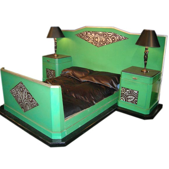 Deco Bed With Stands At 1stdibs