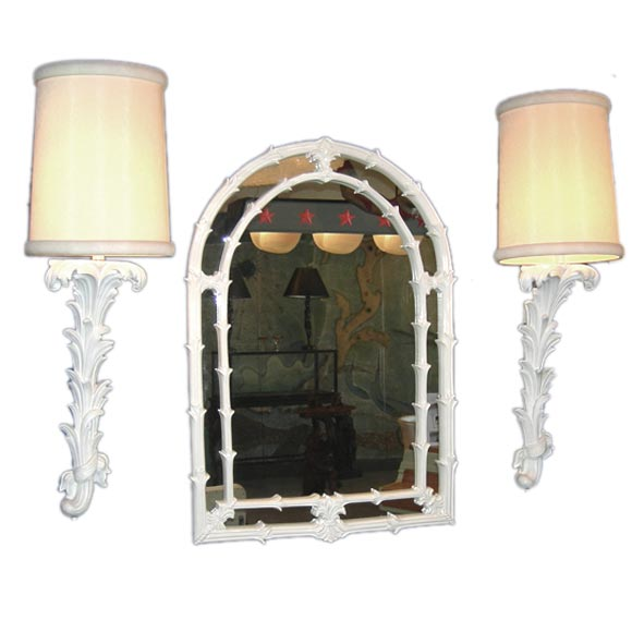 Wall Mirror Lamps : Hollywood Regency Style Wall Mirror and Lamps at 1stdibs