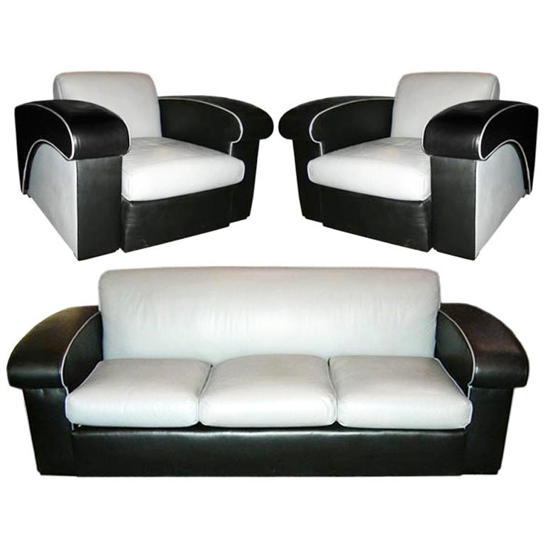 art deco sofa set by harwell hamilton harris at 1stdibs