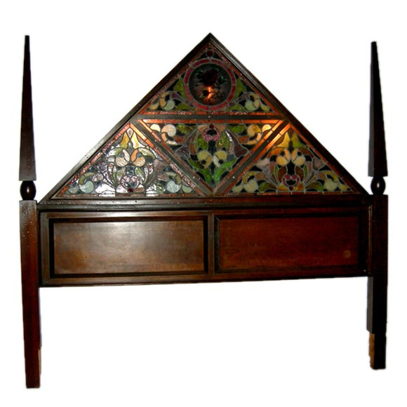 Tiffany Style Stained Glass Lighted Headboard 1 - Tiffany Style Stained Glass Lighted Headboard At 1stdibs
