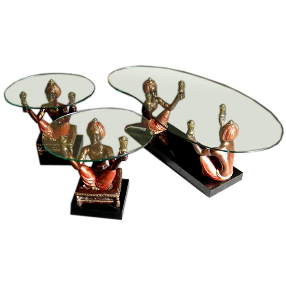 Blackamoor Coffee Table With Matching End Tables 1