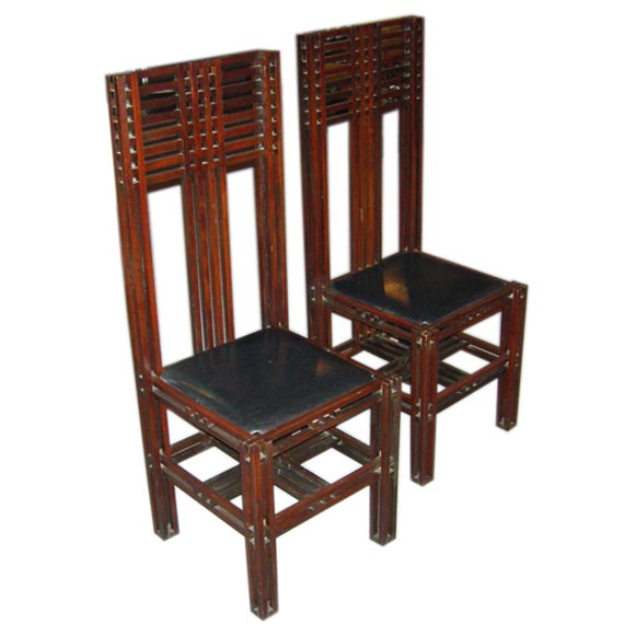 mcintosh style arts and crafts chairs at 1stdibs. Black Bedroom Furniture Sets. Home Design Ideas