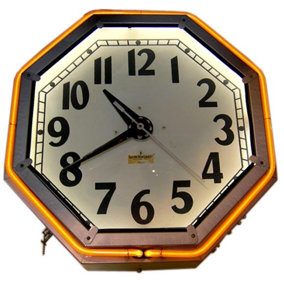 Art Deco Octagon Neon Clock At 1stdibs