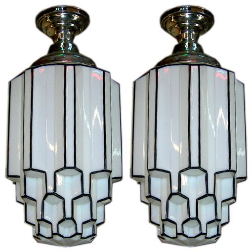 Pair Of Art Deco Iceberg Hanging Lamps At 1stdibs