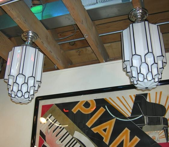 Pair Of Art Deco Iceberg Hanging Lamps At 1stdibs