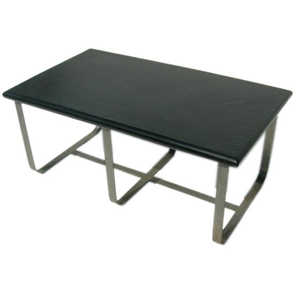 Industrial Style Slate And Steel Coffee Table At 1stdibs