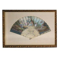 19th Century French Fan Hand-Painted in a Custom Frame