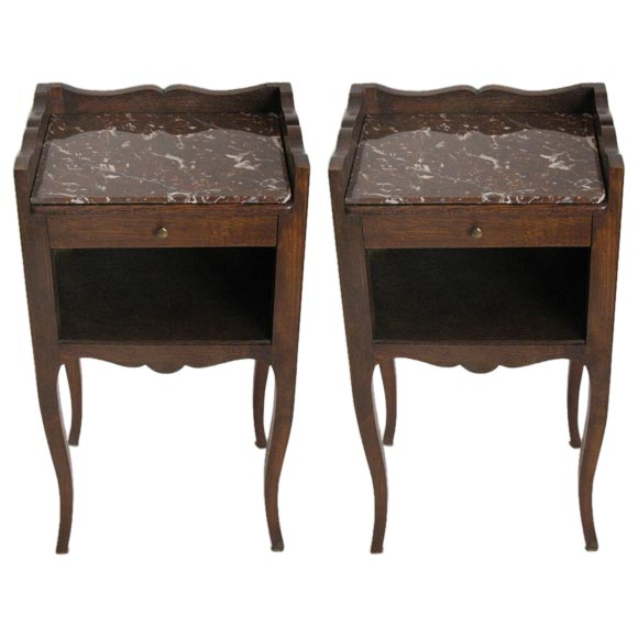 Pair 19th c oak with marble insert side tables at 1stdibs for Table insert th