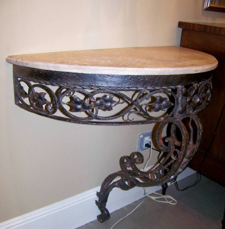 European Pair of Demilune Wrought Iron and Travertine Console Tables, Early 20th Century For Sale