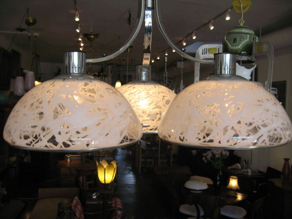Italian large chandelier with three large glass shades by S. T. L. for Lamperti.