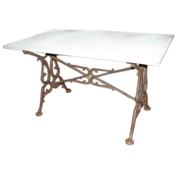 Marble top table with cast iron base at 1stdibs for Cast iron table base marble top