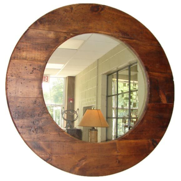 Large round barn wood mirror at 1stdibs for Round wood mirror