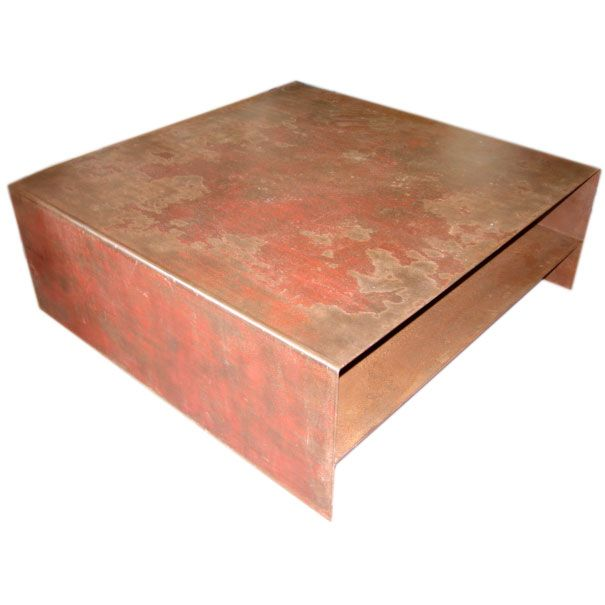 Large square steel coffee table at 1stdibs Metal square coffee table