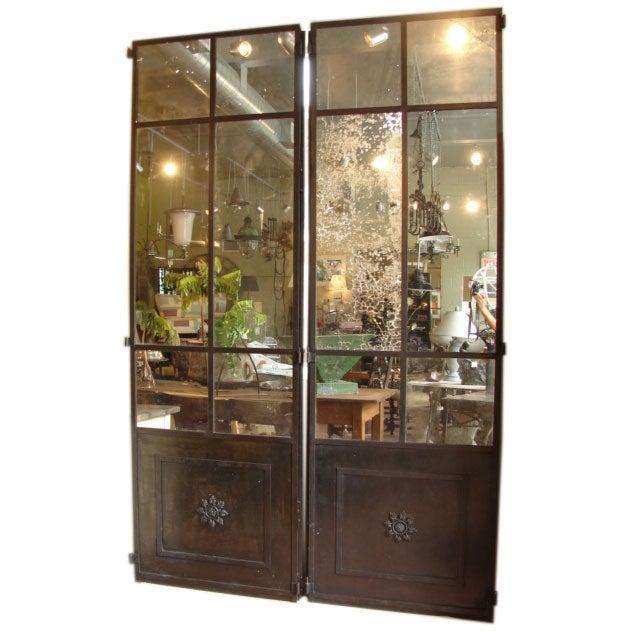 Mirrored Iron Panel Doors At 1stdibs