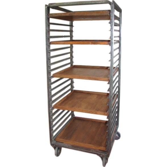 Industrial Drying Rack Cabinet ~ Steel drying rack on castors at stdibs