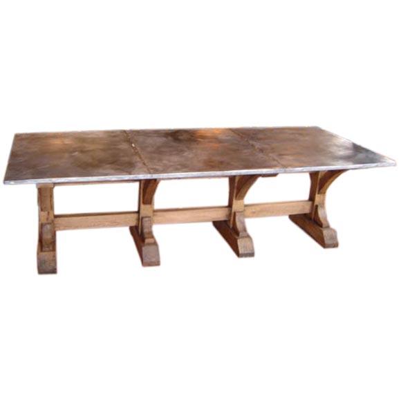 Zinc Top Oak Trestle Dining Table At 1stdibs