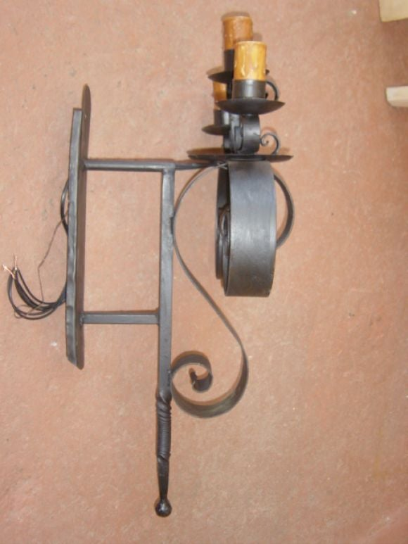Metal Scroll Wall Sconces : Pair of large iron scroll wall sconces at 1stdibs