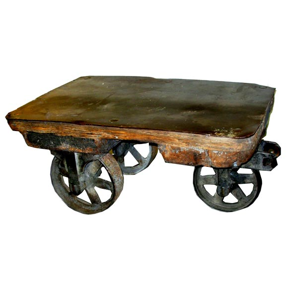 Antique Small Size Industrial Cart/coffee Table With Metal